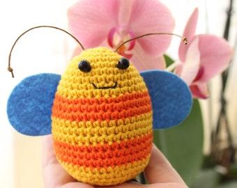Ready to ship! Bee crochet egg, crochet bee, Easter crochet egg, stuffed bee, Stuffed bumblebee