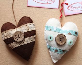 Couple of Hearts felt ornaments