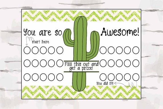 You Are Awesome Reward Chart Classroom Decor Cactus Etsy