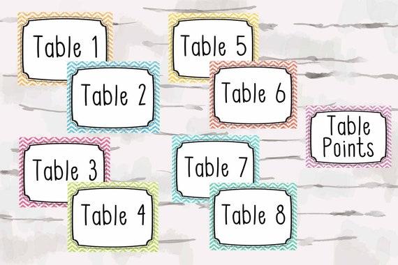 Numéros de table avec point de table signe, numéros de petite table pour garder la piste, professeur décor, téléchargement immédiat