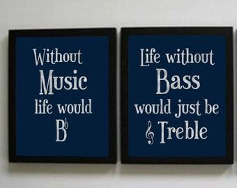 Music Prints, Navy Music Decor, Set of two instant downloads, 8x10 prints, Music Teacher Decor