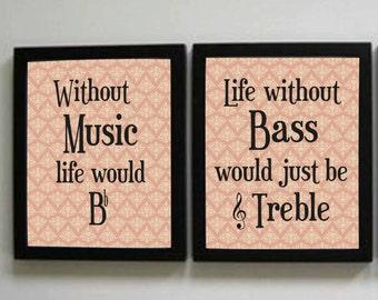 Music Prints, Music Decor, Set of two instant downloads, 8x10 prints, Music Teacher Decor