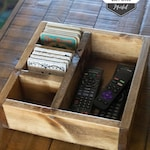 "Large Remote Control Caddy / Remote Control Organizer / Box for Coasters / Coaster Storage Box (12"" x 12"" x 3.6"")"