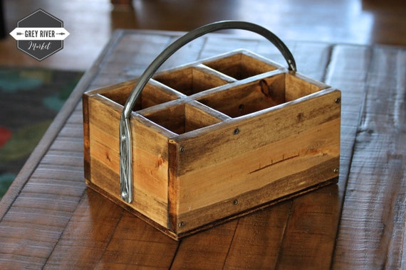 Silverware Napkin Caddy With Iron Handle Rustic Wood Silverware Caddy With Wrought Iron Handle 12 X 9 X 9