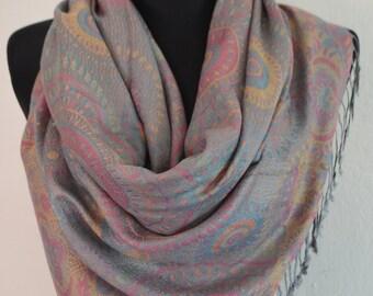 Beautiful multicolor Pashmina Scarf, Scarf for Women, Gray Multicolor Paisley Pashmina Shawl