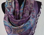 Beautiful Purple Multicolor Pashmina Scarf, Scarf for Women, Violet Paisley Pashmina Shawl