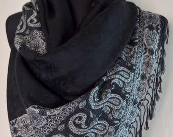 Beautiful multicolor Pashmina Scarf, Scarf for Women, Black Gray Paisley Pashmina Shawl