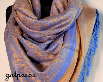 Pashmina Scarf Shawl for Women blue orange 85e53875dc367