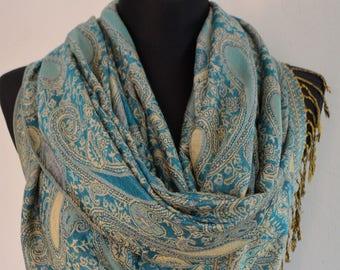 Beautiful blue multicolor Pashmina Scarf, Scarf for Women, Blue Paisley Pashmina Shawl