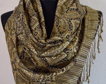 Pashmina Scarf Shawl for Women black gold, GOLD Paisley Pashmina Shawl