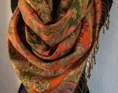 Oriental Pashmina Scarf Shawl for Women Green Orange Gold, GOLD Paisley Pashmina Shawl