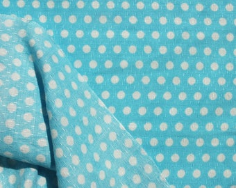 0,75Yrd Light Sky Blue White Polka Dot Fabric 100% Natural Silky Cotton Silk Stitch Sliding Organic Rare Vintage60s Kids Dolls Summer Fabric