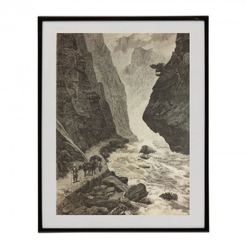 Original 1883 Antique Art Print Caucasus Mountains Engraving Mountain River Art Print Antique Illustration Landscape Scenery Art Print Rare