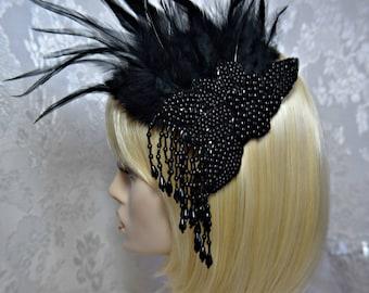ac10d29e GATSBY headpiece Earrings Flapper Art Deco 1920s Roaring 20s Black Feather  black BEADED FASCINATOR hairclip Great Gatsby wedding Accessories