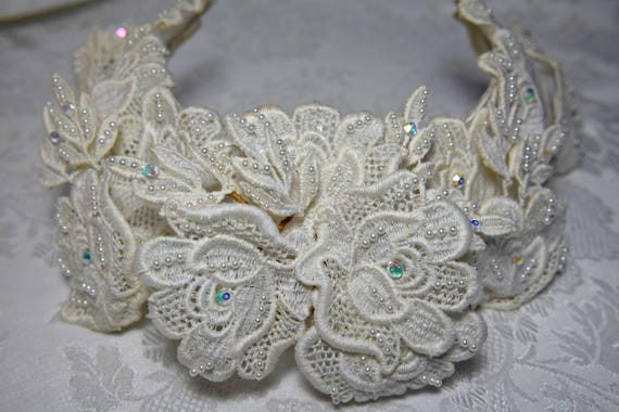 VICTORIAN HEADPIECE Victorian headband Floral Lace