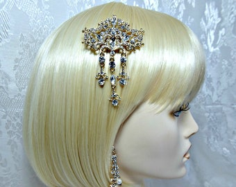 Art Deco Hair Comb + Earrings, Gatsby hair comb, 1920s Roaring 20s Style crystal haircomb, Great Gatsby wedding dress party accessories