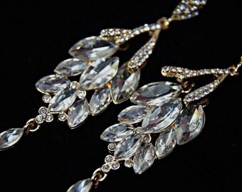 GATSBY Earrings Art Deco Earrings 1920s roaring 20s Style Crystal Chandelier Statement earrings Great Gatsby Wedding accessories dress party