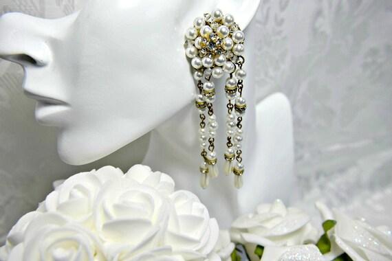 ART DECO earrings, Great Gatsby Earrings PEARL ear