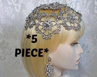 1920s CRYSTAL Wedding Headpiece GATSBY Wedding dress Gatsby Headpiece Fully Beaded cap Silver Burlesque Flapper crystal bridal headpiece