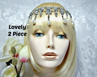 GODDESS GATSBY Headpiece +Earrings Cleopatra Art Deco Silver Pearl Crystal Flapper 1920s roaring 20s headpiece Gatsby wedding accessories
