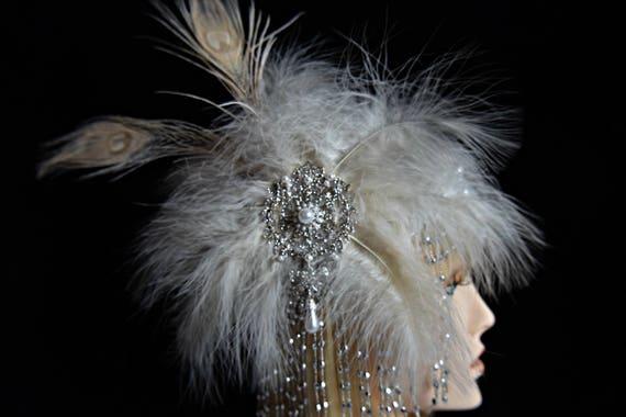 GATSBY HEADPIECE 5Piece FLAPPER Burlesque 1920s Roaring 20s Peacock feather fascinator Gatsby wedding gatsby accessories gatsby dress party