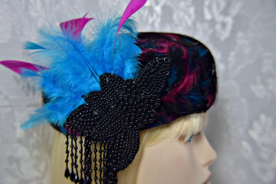 Art Deco Hat, Great Gatsby Hat, PILL BOX HAT, feat