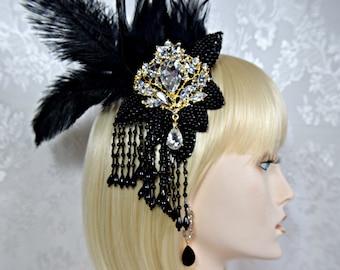 Gatsby Headpiece +Earrings Art Deco 1920s roaring 20s feather crystal headpiece fascinator hair clip, gatsby wedding accessories dress party
