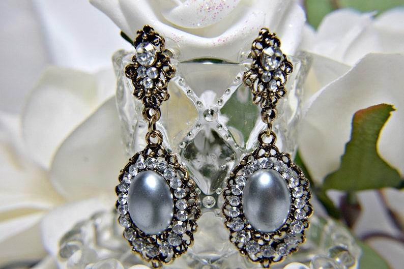 GATSBY necklace set dress party gatsby wedding great gatsby accessories Art Deco Necklace set 1920s roaring 20s GREY PEARL neckace set
