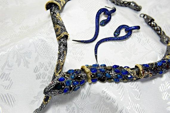 Alexis Bittar SNAKE NECKLACE Set, Blue Sapphire sn
