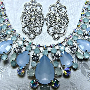 1920s Roaring 20s SAPPHIRE BLUE CRYSTAL necklace set Statement Great Gatsby Wedding necklace set Art Deco Necklace Set Gatsby necklace set