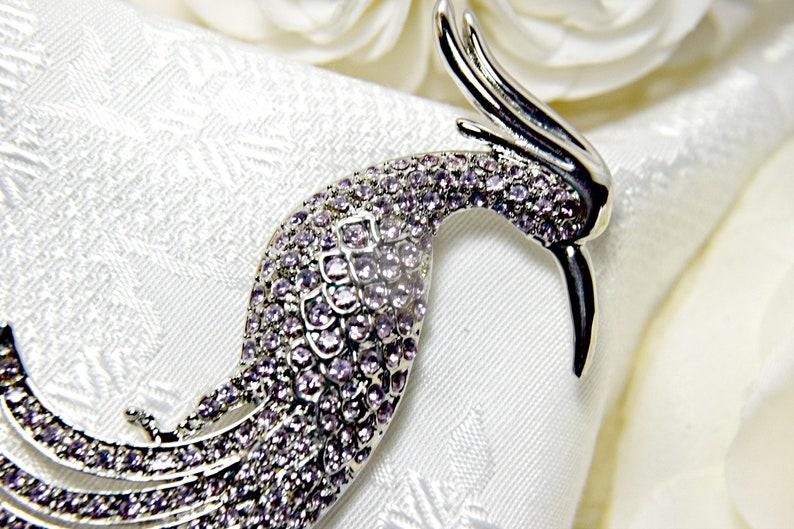 ART DECO Brooch GATSBY Brooch Peacock Brooch Purple Peacock Bird Brooch Crystal Peacock brooch Peacock wedding brooch  Gatsby wedding brooch
