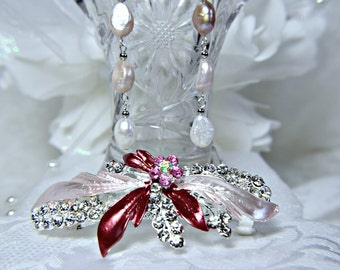 Art Deco Hair Clip Gatsby hair clip 1920s roaring 20s pink crystal pink flower pink wedding hair clip gatsby wedding accessories dress party