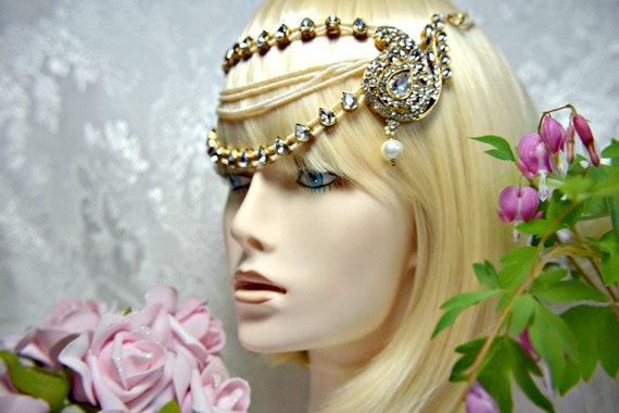 GODDESS GATSBY Headpiece 3Piece Gold Cleopatra Fla