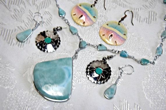 LARIMAR NECKLACE Set Art Deco necklace set blue la