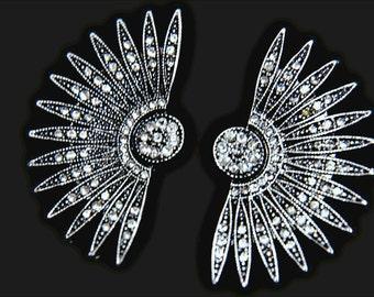 Art Deco earrings Great Gatsby earrings STARBURST Earrings Star Earrings Fan earrings Silver Spike earrings Celestial earrings 1920s style