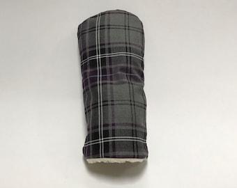 Purple and Grey Tartan Golf Club Cover