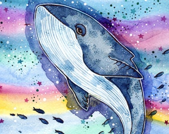 Watercolor Whale Print Kids Room Sea Creature Print Whale Watercolor Painting Whale Nursery Decor