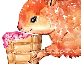 Squirrel Print Nursery Animal Squirrel Wall Print Watercolor Squirrel Painting Print Cute Squirrel Art Nursery Watercolor