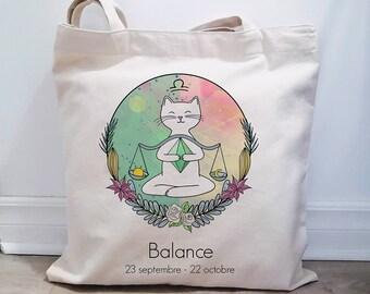 Bag made in Quebec, reusable cotton bag, astrology theme, Lion, illustrated cotton bag, cat scale, cat love bag