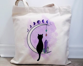 Natural cotton bag made in Quebec, cat collection, Useful and practical bag, reusable cotton bag, bag with cat illustration,