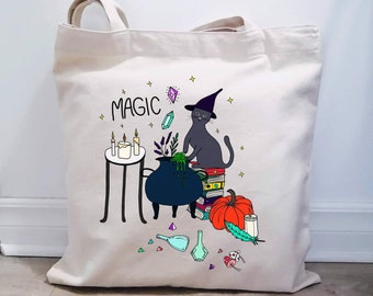 Natural cotton bag made in Quebec, cat collection, reusable cotton bag, bag with special Halloween cat illustration