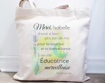 Quebec-made bag, reusable cotton bag, shopping bag, natural cotton bag