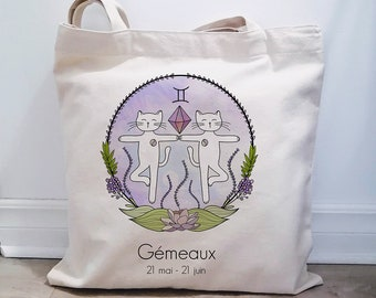 Reusable bag in natural cotton, astrology bag, astrological sign, astrology thematic bag. bag illustration cat-gemini, eco-friendly bag