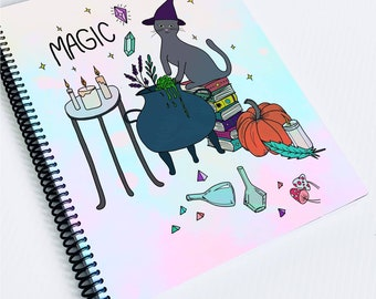 Notebook 128 pages, spiral notebook, notebook for creative notebook, notebook c'haloween, notebook special cat witchy