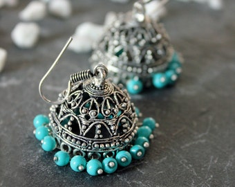 Handmade Dangler Earrings in Silver and Turquoise, Indian Bohemian Earrings, Turquoise Blue Beaded Earrings, Boho Jewelry, Boho Jewellery