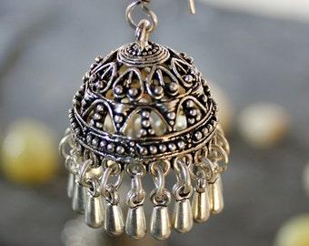 Handmade Dangler Earrings in Silver, Indian Bohemian Earrings, Turquoise Blue Beaded Earrings, Boho Jewelry, Boho Jewellery, Tribal Fashion