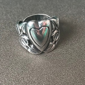 Beautiful 925 Silver with Hummer and Sickle Hallmark from Soviet Union era Beautiful Russian Silver  925 Vintage Ring Heart  shape