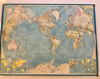 World Map 1970 Etsy