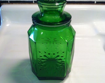 Quick View. Vintage Green Glass Canister ...