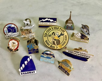 Vintage Lot Of Alaska Enamel Travel Pins Lot Of 14 Lapel Pins Souvenir Pins  Juneau Fairbanks McKinley Sitka Collectible State Souvenir